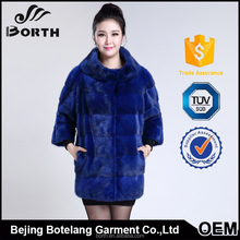 Hot sale Genuine mink fur coat , boat collar,Blue warm fashion winter fur coat