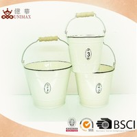 Home use pure white round water buckets with handle