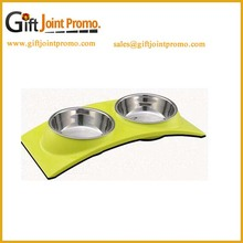 Wholesale Fashional double dog stainless steel pet bowl