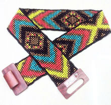 Wooden beaded stretch belts