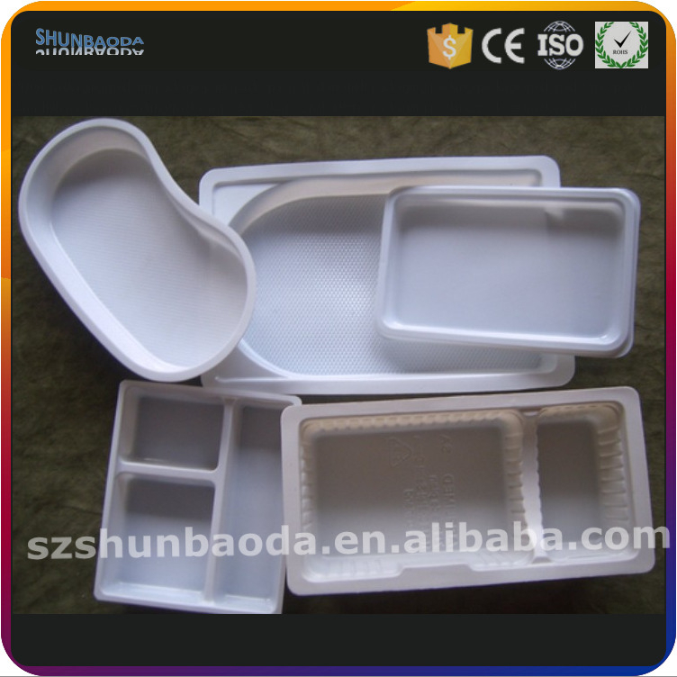 white large plastic PP medical tray, clear blister tray