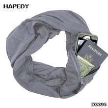 Best Sale Storage Round Scarves Solid Color Collar Warm Jersey Hip Infinity Scarf With Zipper Pocket