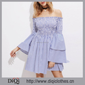 New arrivals Summer girls casual sexy Blue Shirred Off The Shoulder Bell Layered Sleeve Dress