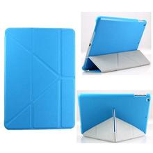 For New iPad Air Smart Case Transformer Folding Cross Pattern Leather Cover Case For Ipad 5 Wake Cover W/ Sleep Wake