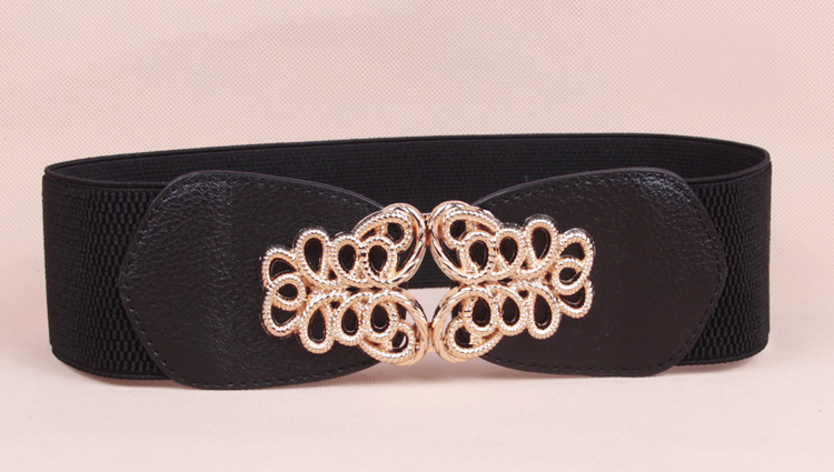 wp1038a Floral Design Lady Buckle Cinch Waist Belt Black