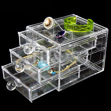Acrylic Clear Makeup Organiser Cosmetic Jewellery Storage Case Box 3 Drawer