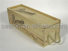 Natural Pine Wood Handmade Wine Bottle Gift Box With Rope Handle