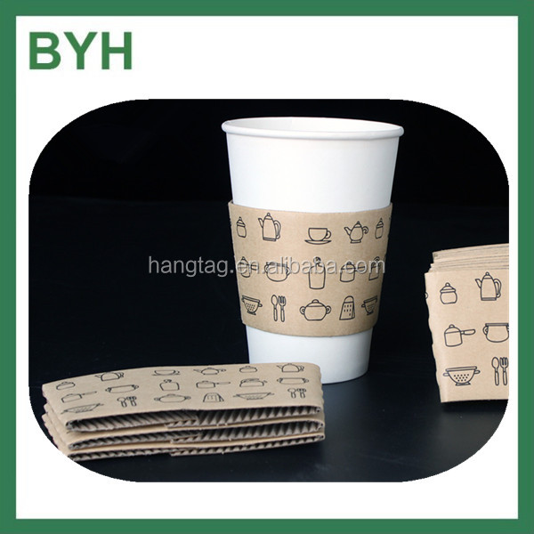 kraft heat resistant cup sleeve paper cup sleeve with custome logo print hot cup sleeve