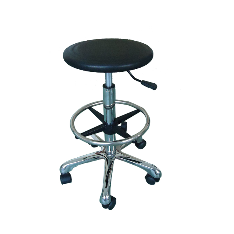 Antistatic esd black pu industrial chair leather barstool with metal base cleanroom work office chair