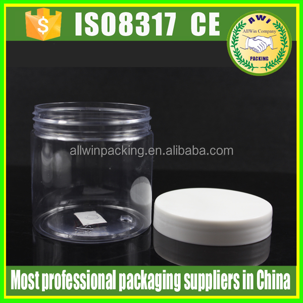 AWI 200ml 300ml pet plastic round jar clear empty plastic pet jar