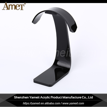 China custom shape black acrylic headphone holder