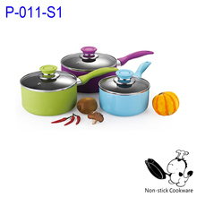 Pressed colorful aluminum nonstick milk sauce pan in assorted color for home use