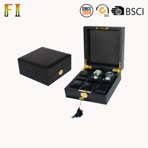 Top Selling Premium quality leather black watch storage box 6 slots
