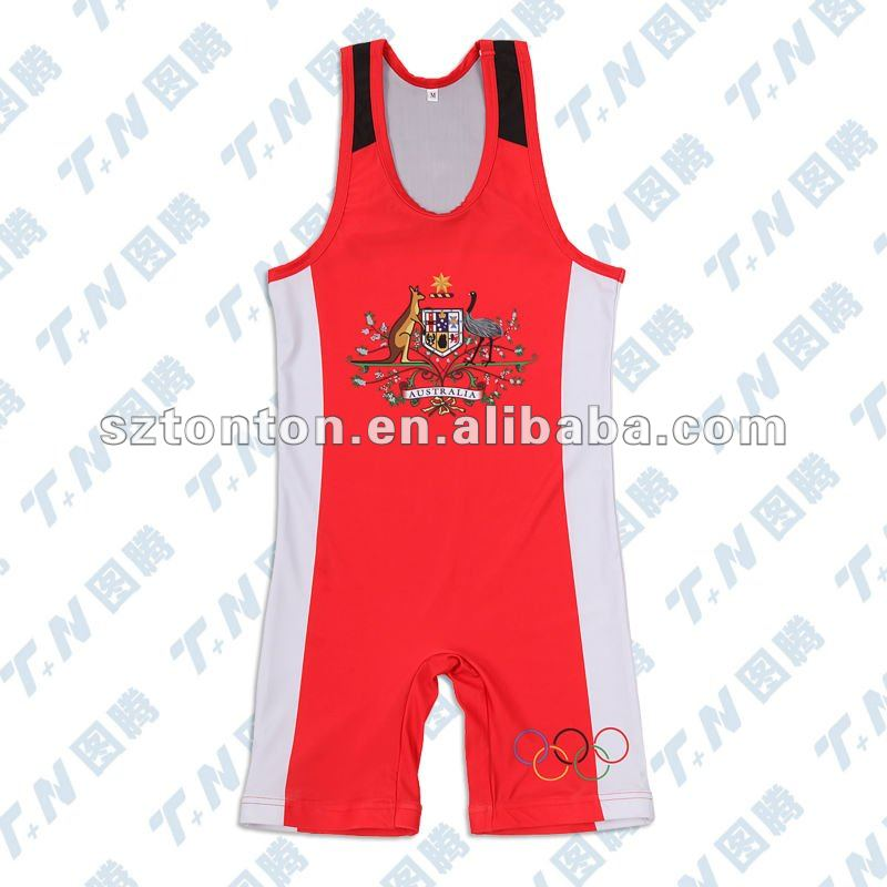 Reversible singlet for wrestling with printed