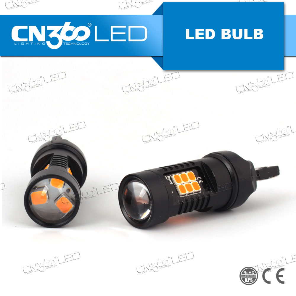 China Factory car led light bulb 1156 3156 7440 led amber 10.5w