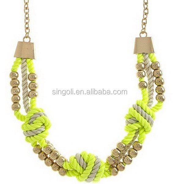 Triple Knot Beaded Neon Yellow Rope Necklace 2014 fashion jewelry