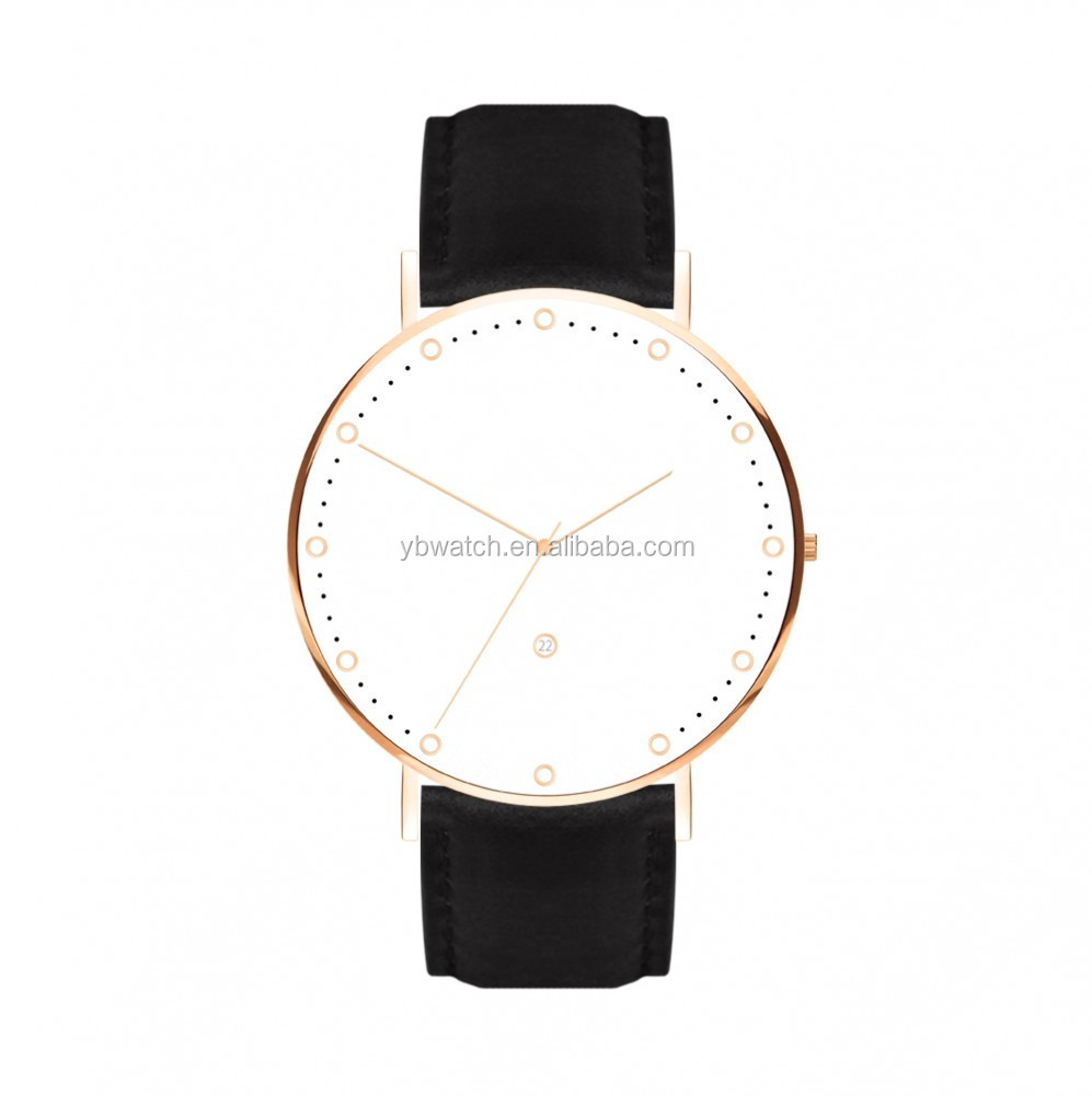Minimalist blank custom the latest design brand watches unique mens watches with leather strap