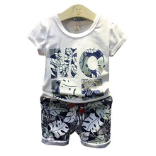 new products Boutique Clothing Baby Boy Set ,baby clothing 2 pieces t shirt+shorts knitted baby