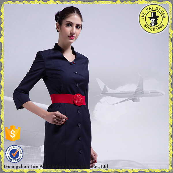 lady elegant custom logo airline flight attendant uniform suits factory in guangzhou