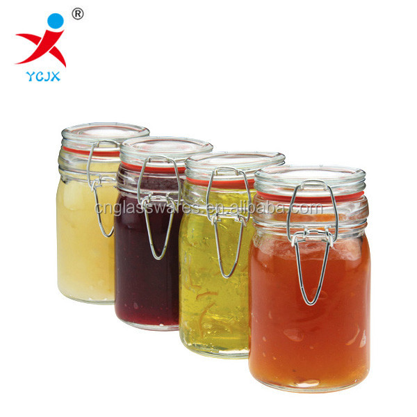 cylinder glass seal jar with lock lid/clamp lid