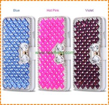 wholesale Luxury 3D Crystal PU Leather Card Slot Bling Diamond Cover For Iphone 7