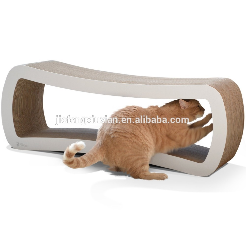 Shaped Corrugated Cardboard Cat Scratch Lounge With Catnip