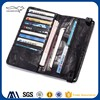 2017 cheap custom print black folding genuine leather men travel wallet