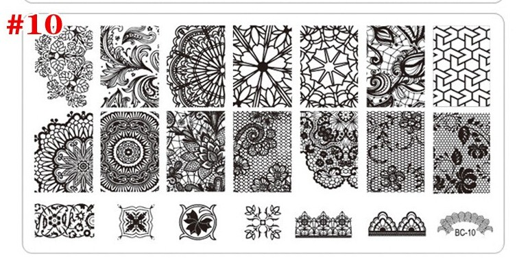 Newest BC series rectangular Style Stamping nail art plate