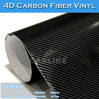 CARLIKE Air Bubble Free Gloss Black 4D Carbon Fiber for Car Body Stickers