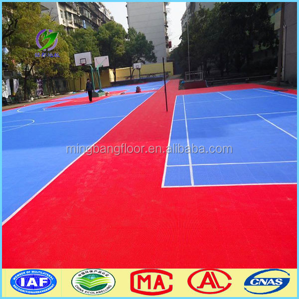 multi sport tennis/ badminton/ basketball court flooring pp interlocking tile