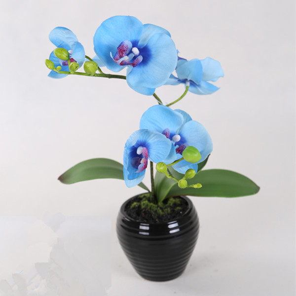 artificial blue orchid real touch with 2 branches in pot