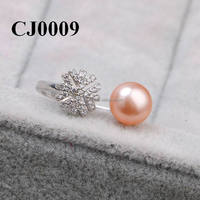 Lastest Design Crystal Snowflake Value S925 Silver Pink Pearl Rings