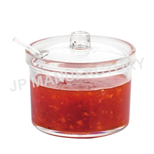 400ml Clear Plastic Round Sauce Jar with spoon