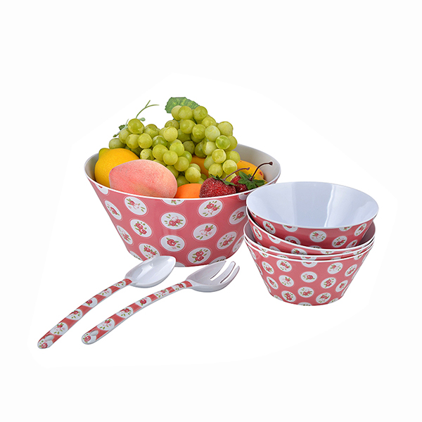 BPA free red color Melamine fruit salad bowl set for sale