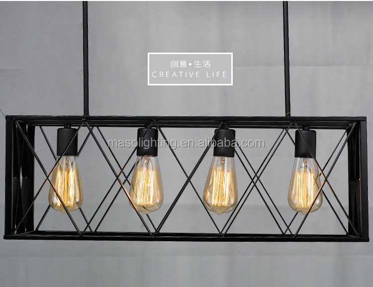 Designer Lamp Lost American Country Industrial Resturant Chandelier Pendant Lamp Vintage Retro Black Cage Edison Drop light
