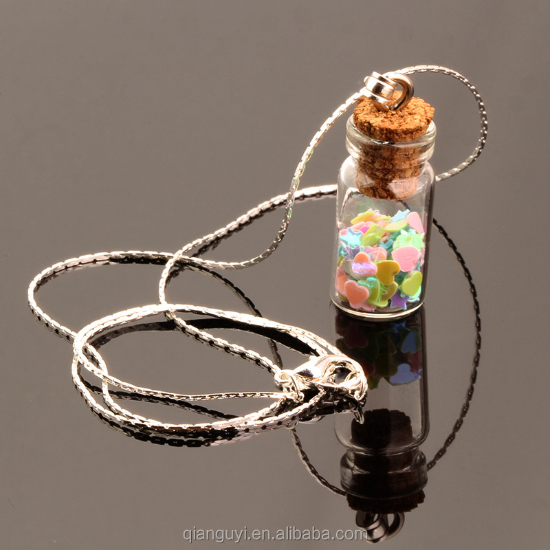 DIY wish vial pendant charm supplies vintage style cylinder glass tube with wooden cork lovely mini wish glass pendant necklaces