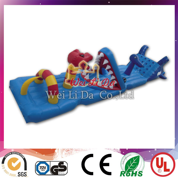 Hot sale dinosaur model adult inflatable obstacle course