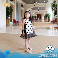 2016 best selling products wholesale kids clothing lace casual black polka dot summer brand girls' dresses