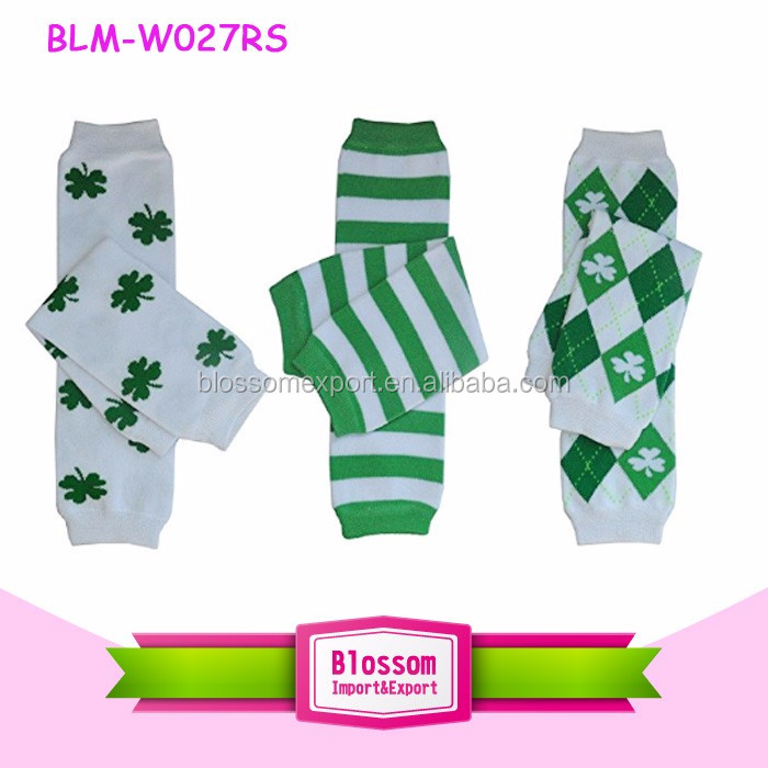 White & Kelly Green Shamrock Clover St Patrick's Day Baby Leg Warmer With Chiffon Ruffle
