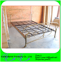 Ornamental modern metal iron day bed trundle bed for sale king size bed