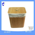 Bamboo Round Laundry Storage Basket with Lid