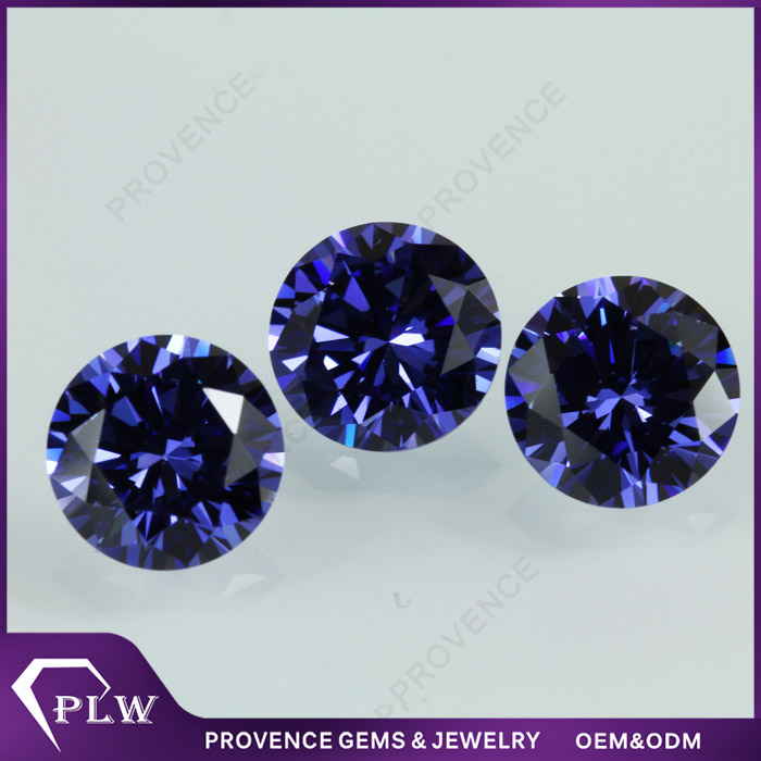 Machine cut tanzanite blue round brilliant cut cubic zirconia gemstones