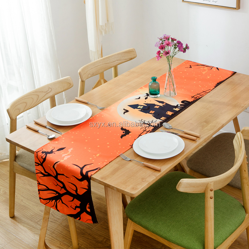 100% polyester Rustic Vintage Table Runner for party & Halloween Dining Decoration Table runner--13x72inch