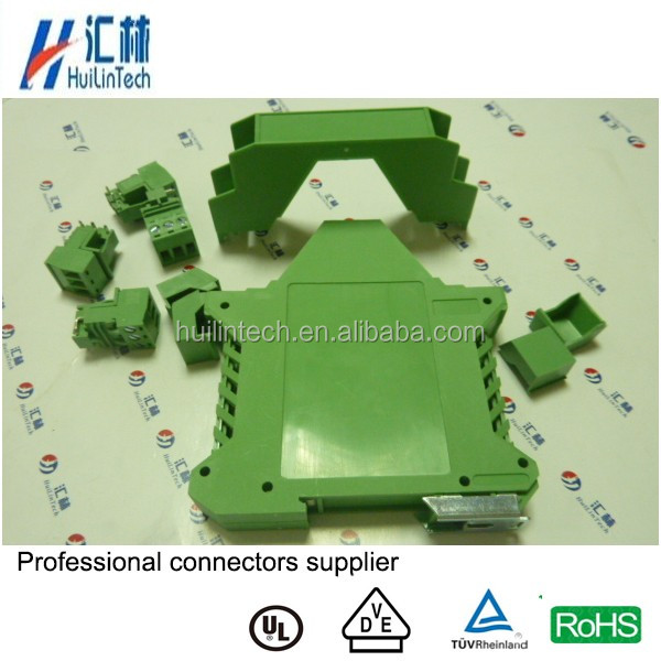 17.5mm width green din rail enclosure PCB electronic shell terminal block