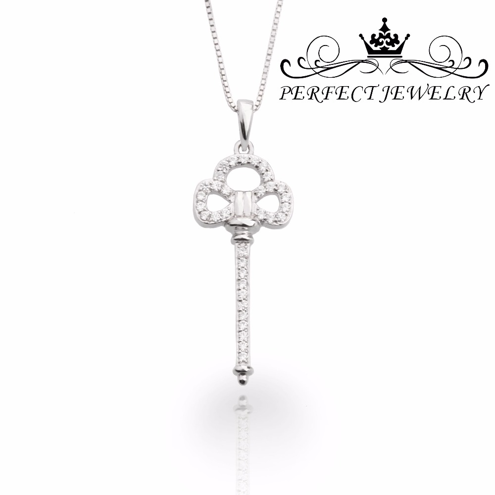 Fashion Silver Jewelry Pendant Necklace Key Shape With Cubic Zircon