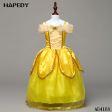 Pretty Yellow Short Sleeve Flower Strapless Kids Girl Fairy Dresses