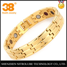 Wholesale italian design gold plated stainless steel 4 in 1 magnetic FIR negative ion germanium bracelet unisex health jewelry