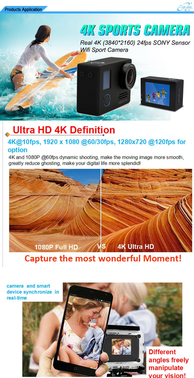2016 Double screen underwater wifi real 4K video action camera