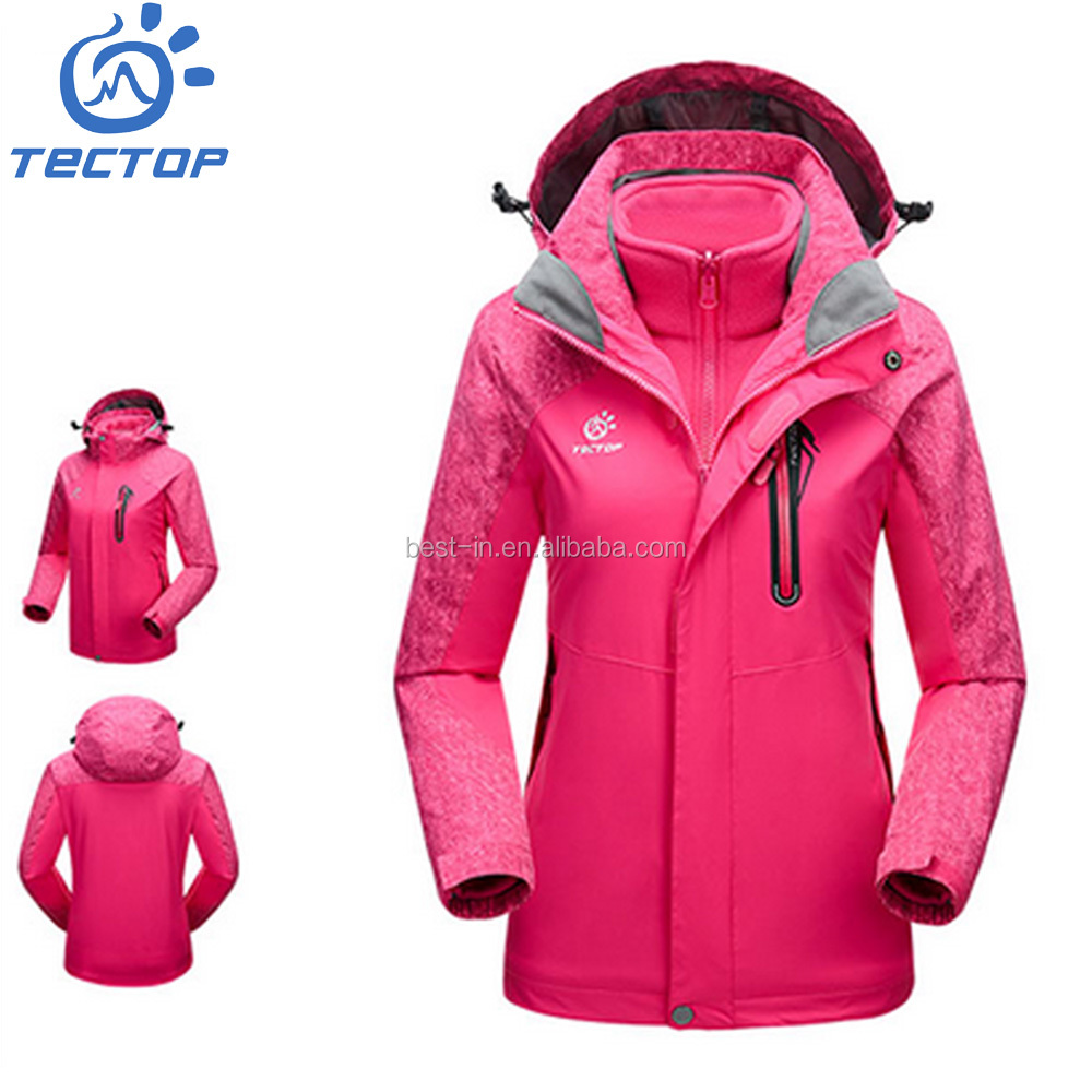 2016 New Outdoor Waterproof Windproof Fabric+Fleece Lining Warmth Woman Winter Jackets 100%Polyester
