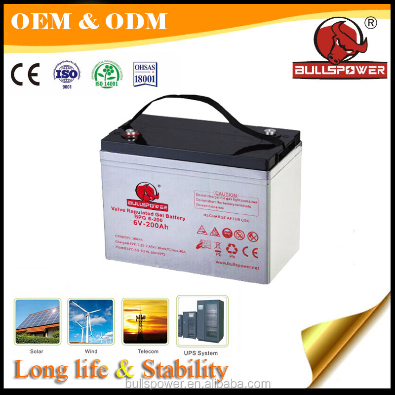Industrial deep cycle batteries solar battery 6v 200ah